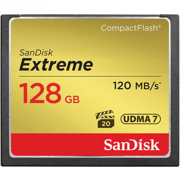 CARTÃO DE MEMORIA COMPACTFLASH 128GB SANDISK EXTREME S 120-85MB/s