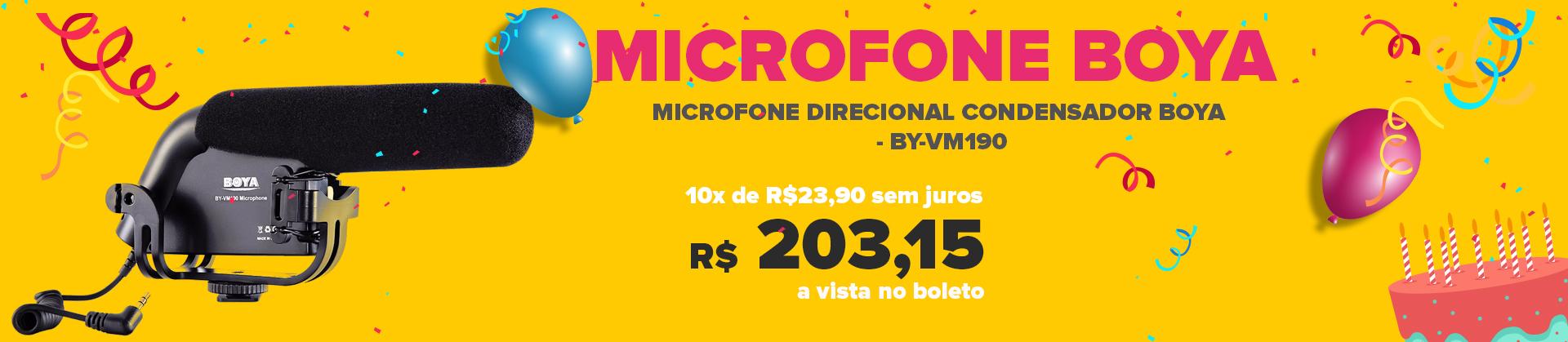 MICROFONE DIRECIONAL CONDENSADOR BOYA - BY-VM190